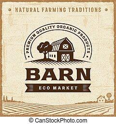 vendange, grange, étiquette