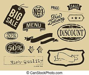 vendange, graphique, ensemble, vente, éléments