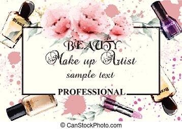 vendange, grimer, aquarelle, vecteur, fond, illustrations, professionnel