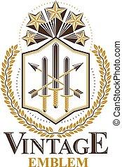 vendange, héraldique, vecteur, emblème, design.