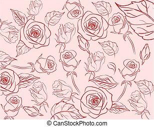 vendange, handrawn, rose, seamless, modèle