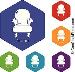 vendange, hexahedron, vecteur, fauteuil, icônes