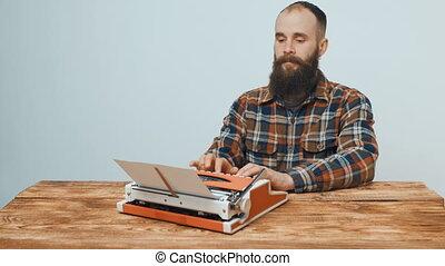 vendange, hipster, dactylographie, machine écrire, rouges, homme