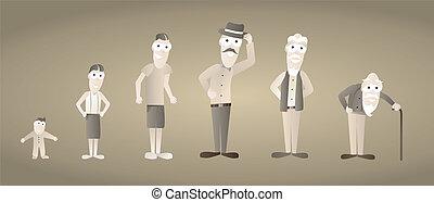 vendange, homme, vieillir, /, vieillissement