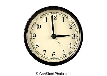 vendange, horloge, contre, isolé, fond