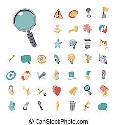 vendange, icônes, ensemble, pour, interface utilisateur