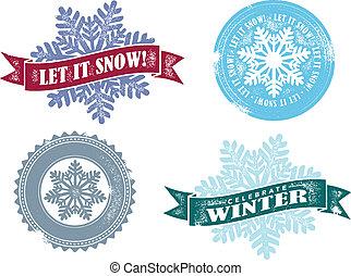 vendange, il, neige, vecteur, laisser, graphiques