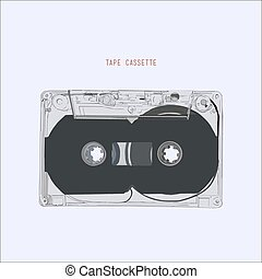 vendange, illustration, cassette, bande, vector., audio