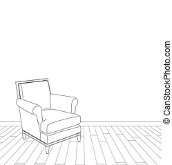 vendange, illustration, fauteuil
