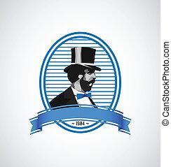 vendange, -, illustration, gabarit, logo, homme