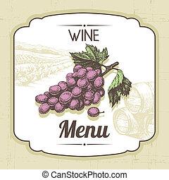 vendange, illustration, main, arrière-plan., menu, dessiné, vin