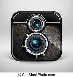 vendange, illustration, vecteur, photo, icon., appareil photo