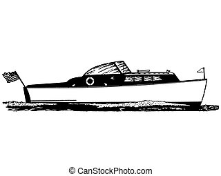 vendange, illustration, version, noir, blanc, bateau