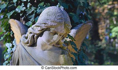 vendange, image, de, a, triste, ange, sur, a, cimetière, contre, les, backgrou