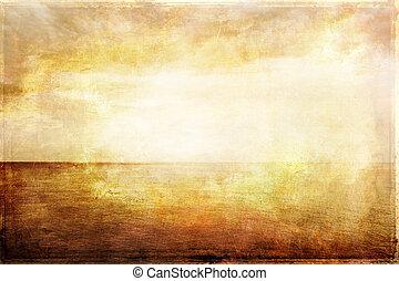 vendange, image, lumière ciel, mer, grungy