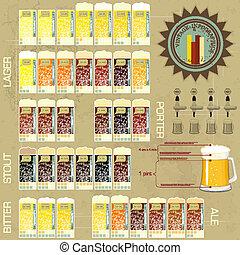 vendange, infographics, ensemble, -, bière, icônes