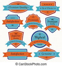 vendange, insignes, ensemble, retro, labels.