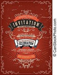 vendange, invitation, affiche, fond