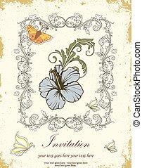 vendange, invitation, carte, à, orné, élégant, retro, résumé, stylique floral