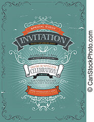 vendange, invitation, fond, affiche