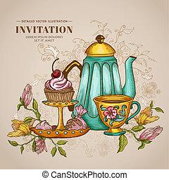 vendange, invitation, -, ou, desserts, vecteur, menu,...