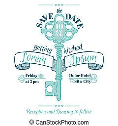 vendange, invitation, -, thème, vecteur, clã©, mariage, carte