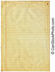 vendange, isolé, papier, a4, vide, revêtu, white.