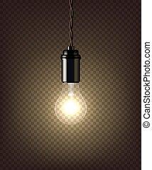 vendange, isolé, sombre, arrière-plan., lampe, vecteur, transparent
