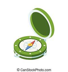 vendange, isométrique, compas, icône