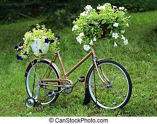 Décoration, vendange, vélo, jardin.