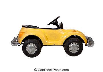 vendange, jouet, vieux, voiture jaune