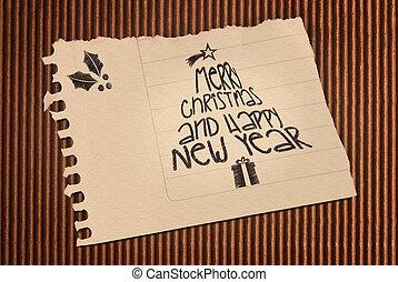 vendange, joyeux, année, nouveau, noël, heureux