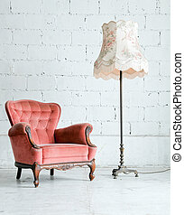 vendange, lampe, bureau, salle, fauteuil