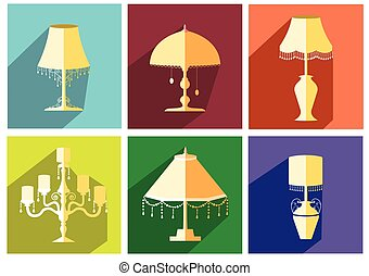 vendange, lampe, ensemble, luxe