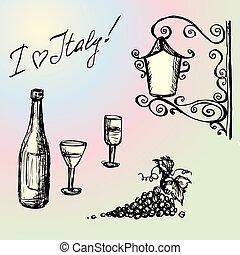 vendange, lampe, lunettes, main, bouteille, vin, dessin