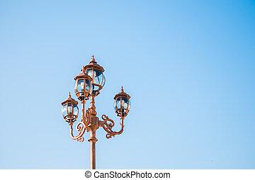 vendange, lampe, rue, poste
