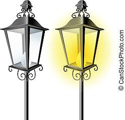 vendange, lampe, rue, vieux