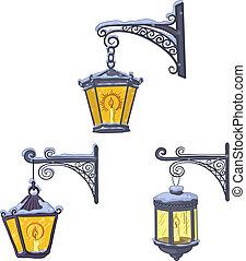vendange, lanternes, rue