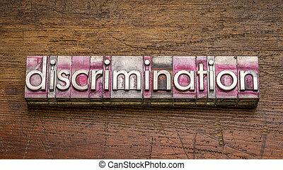 vendange, letterpress, discrimination, type, métal mot, graveleux