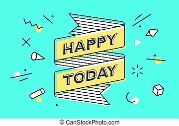vendange, ligne, bannière, ruban, heureux, dessin, style, today.