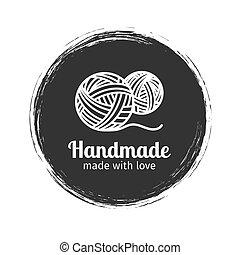 vendange, ligne, fait main, logo
