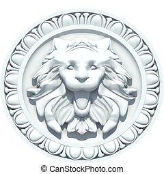 vendange, lion, vecteur, tête, sculpture.