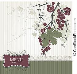 vendange, -, liste, menu, vin