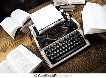 vendange, livre, vieux, machine écrire
