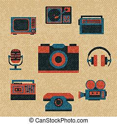 vendange, média, icônes