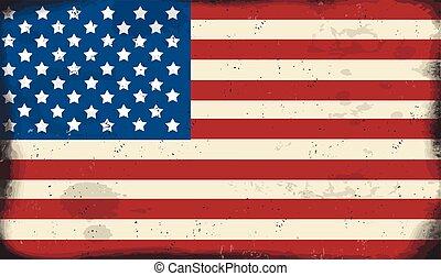 vendange, métal, américain, signe, rouillé, drapeau