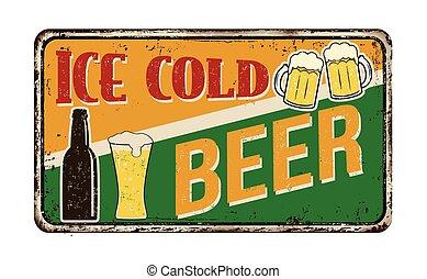 vendange, métal, bière, glace, signe, rouillé, froid