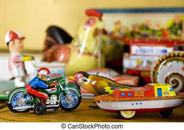 vendange, métal, jouets