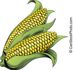vendange, maïs, woodcut, illustration
