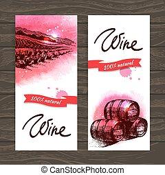 vendange, main, aquarelle, arrière-plan., illustrations, dessiné, bannières, vin